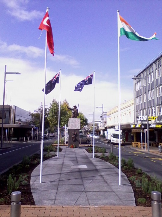 M-J statue flags flying
