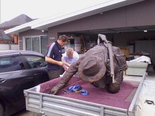 Delivering Moore-Jones statue